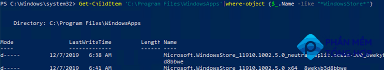 check for Microsoft store files on local drive