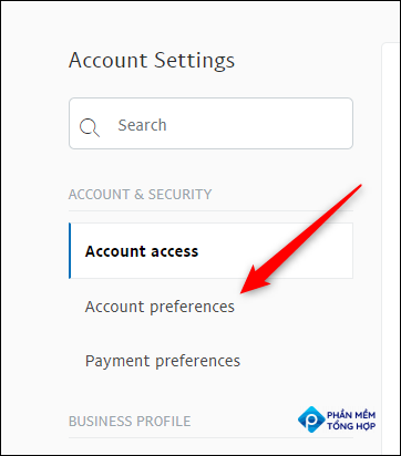 """Click """"Account Preferences"""" in the left-hand pane."""
