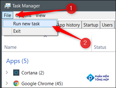 Click File and then click Run New Task.