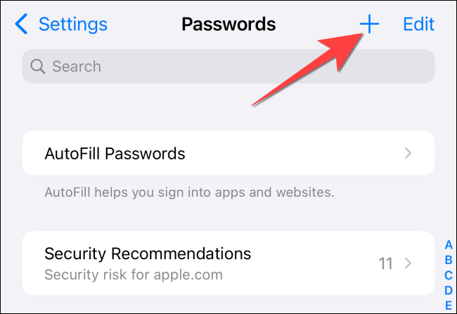 click plus to add new site name and password