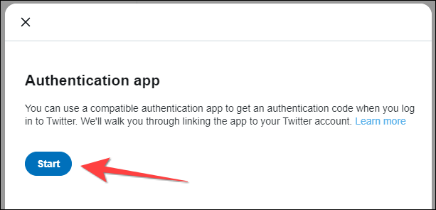 """Click the """"Start"""" button on the Authentication app pop up window."""