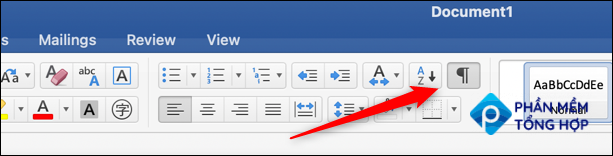 click the show and hide icon in words ribbon