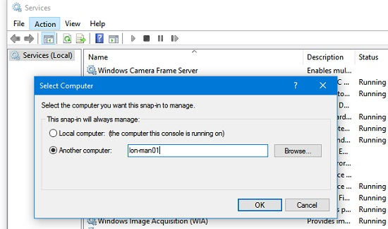 connect to services on remote windows device