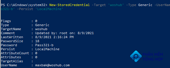 Create a credential object for PowerShell automation using New-StoredCredential
