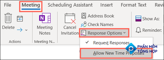 Uncheck Allow New Time Proposals in Outlook