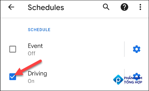 """select """"driving"""" as a do not disturb schedule"""