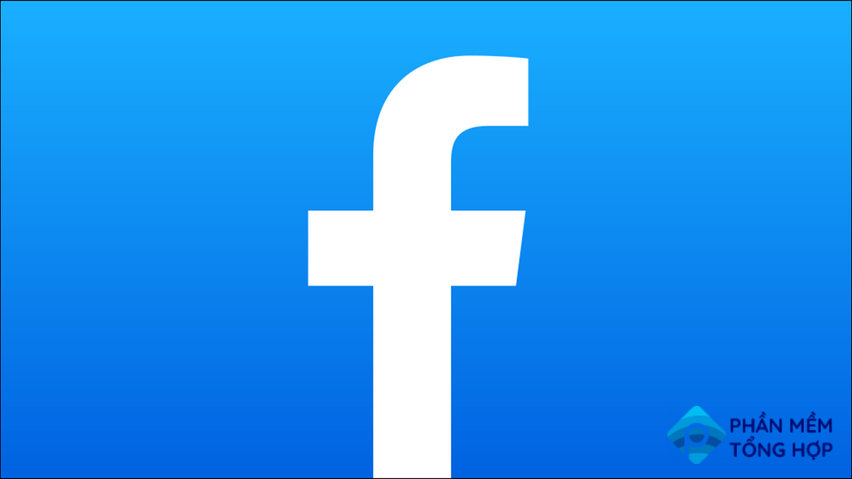Facebook's logo on a gradient background.