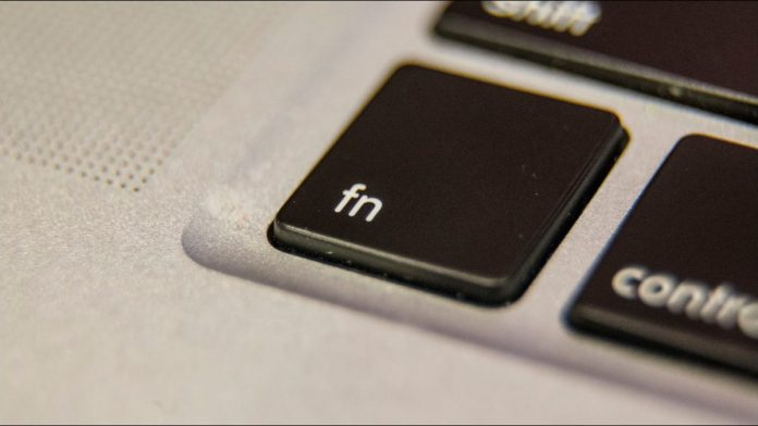 The Fn key on a laptop keyboard