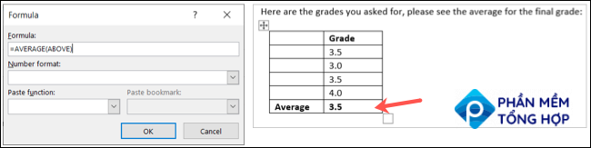 Average formula and result in Outlook