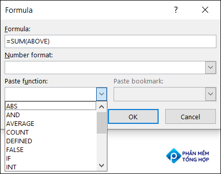 Select a function to paste