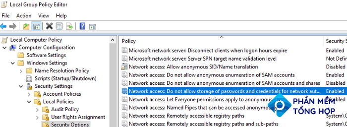 GPO: Network access: Do not allow storage of passwords and credentials for network authentication