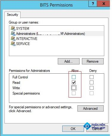 granting full control permissions on windows service for admin