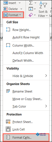 On the Home tab, click Format, Format Cells