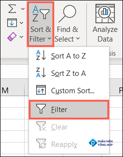 On the Home tab, click Sort & Filter, Filter