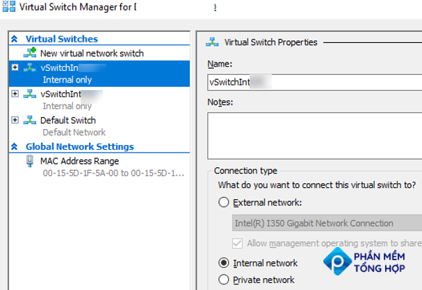 hyper-v: create two internal network switches