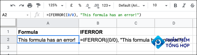 An example of an IFERROR formula in Google Sheets with a nested function.