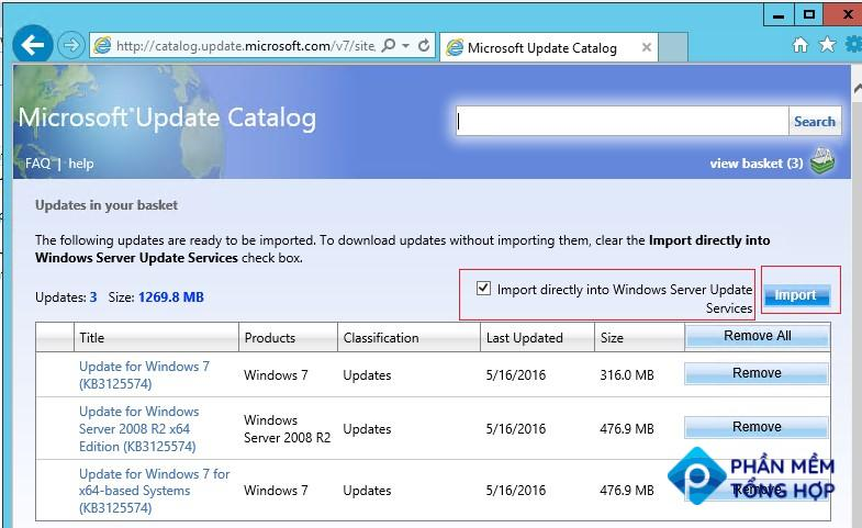 Import directly into Windows Server Update Services