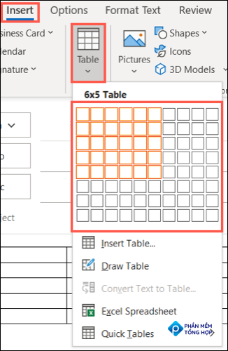 On the Insert tab, click Table and choose a size