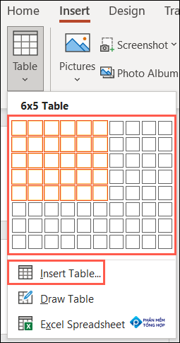 On the Insert tab, click Table