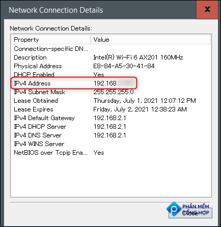 IP address in the Network Connection Details window.