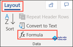 On the Layout tab, click Formula in the Data section