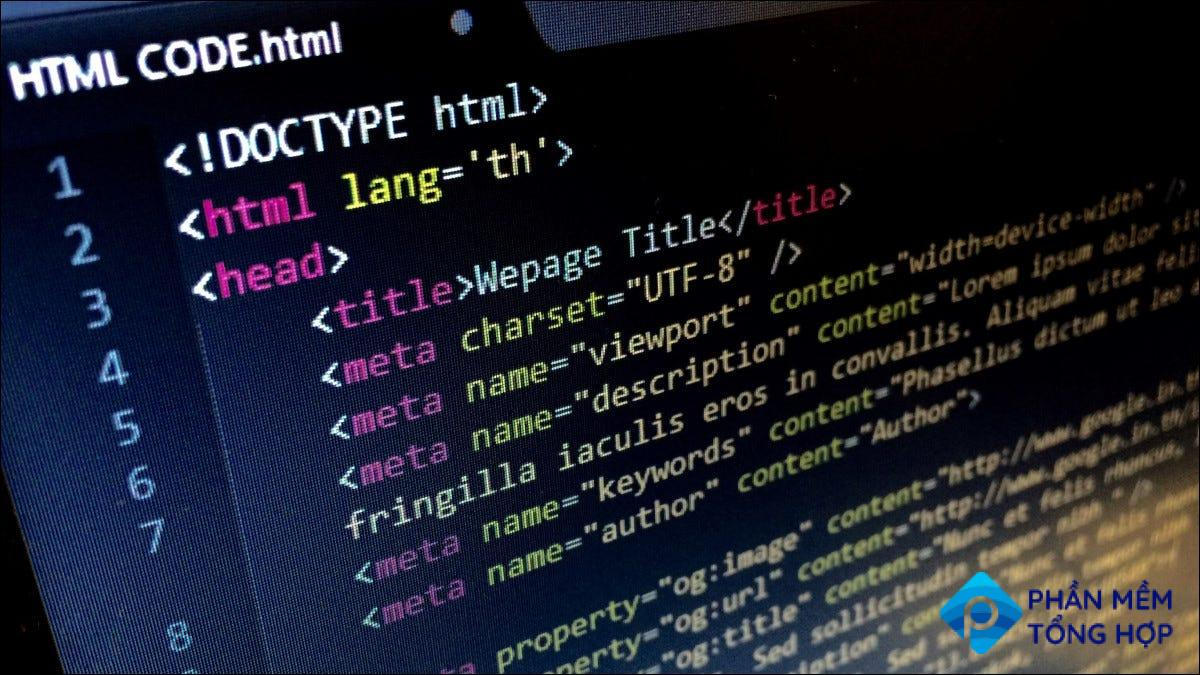 An example of HTML, a markup language.