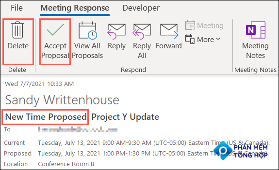 Click to Accept or Delete a new time proposal in Outlook