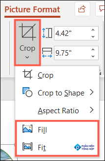 Click Crop and pick Fill or Fit