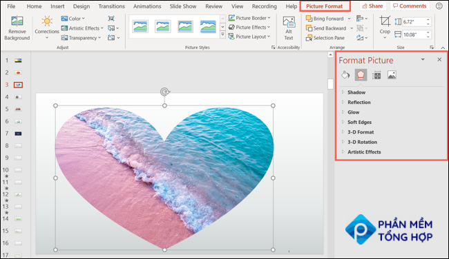Picture formatting tab and sidebar in PowerPoint