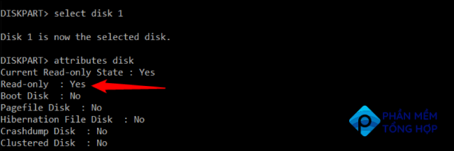 Press Enter and it will display all the attributes of your selected disk