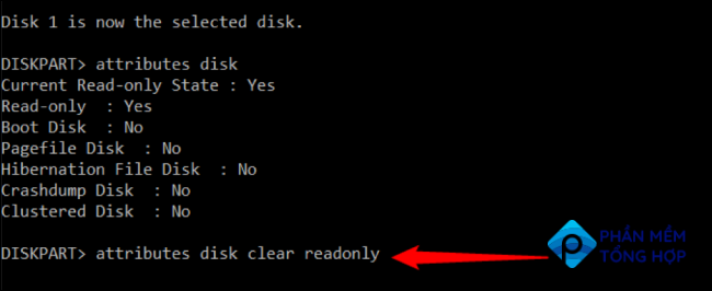 """Type """"attributes disk clear readonly"""" and press Enter"""