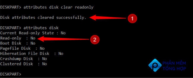 """Type """"attributes disk"""" again and Enter and the attribute will set to No"""