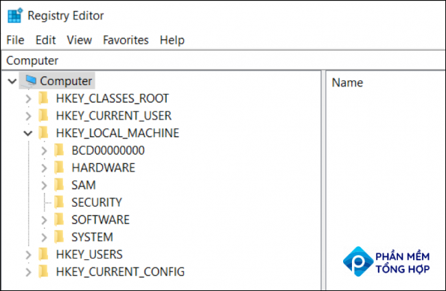 You will see the Registry Editor window