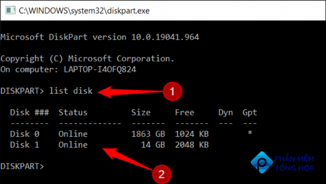 """Type """"list disk"""" after the word DISKPART and press Enter"""