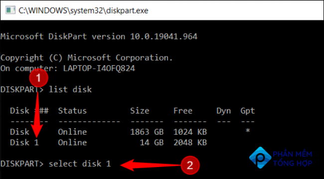 """Type """"select disk [disk number]"""" or the device needed to be selected"""