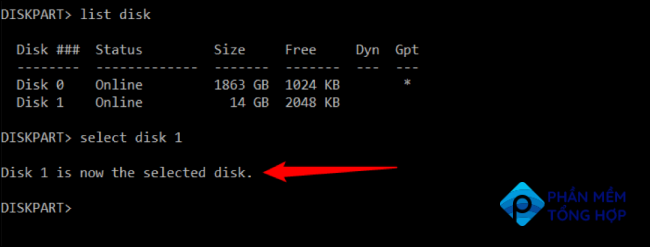 Press enter and utility will inform you that the disk is now selected