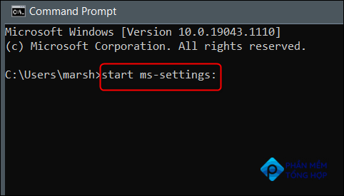 """Run """"start ms-settings:"""" in Command Prompt."""