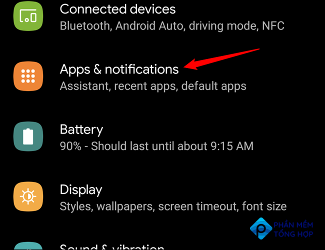 Android's Settings menu with the Apps & notifications entry highlighted