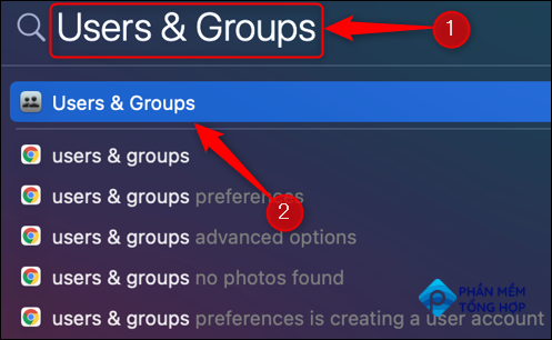 """Search and open """"Users and Groups"""" from Spotlight Search."""