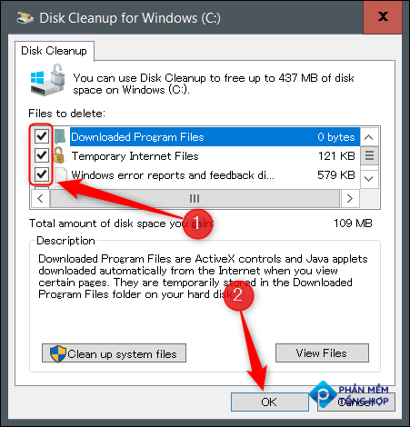 Select files to delete and then click Clean Up System Files.