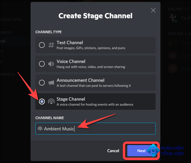 """Select the """"Stage Channel"""" option, type out the channel name in the text box under the """"Channel Name"""" section."""