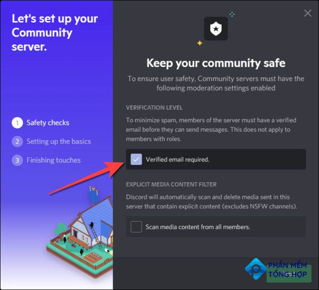 """Check the box for """"Verified email required"""" to allow only people with a verified email to join your Community server."""