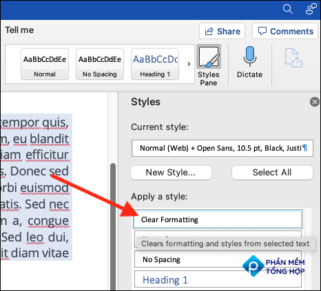 """Select the """"Clear Formatting"""" button from the Styles pane"""