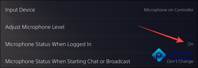 """Select the """"Microphone Status When Logged In"""" option, which shows """"On"""" by default."""