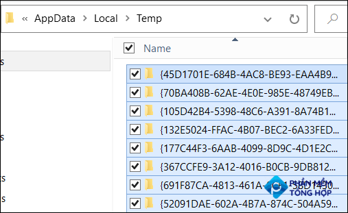 Hit Ctrl+A to select all temp files.