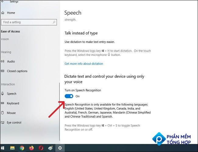 """In Speech Settings, click """"Turn on Speech Recognition."""""""