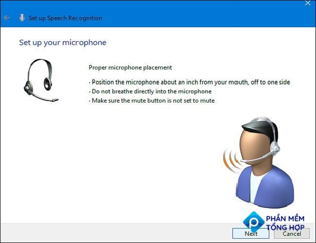 """In the Speech Recognition Setup Wizard, click """"next"""" to start setting up your microphone."""