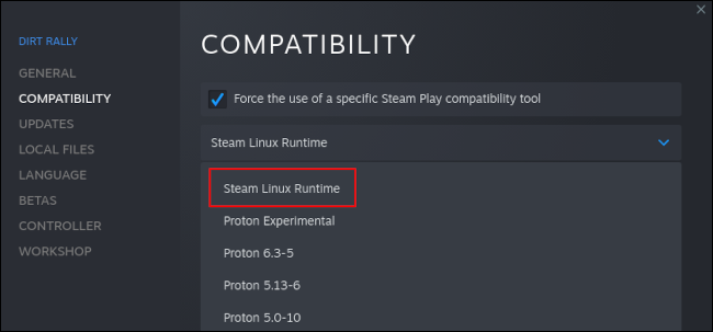 Steam Linux Runtime listed in Steam's compatibility tools for Linux