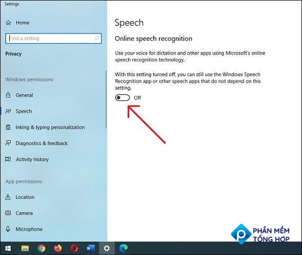 Under Speech Recognition settings, slide the button to the off position.