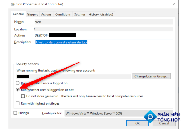 """A Windows Task properties window with a red arrow pointing to the option """"Run whether user is logged on or not."""""""
